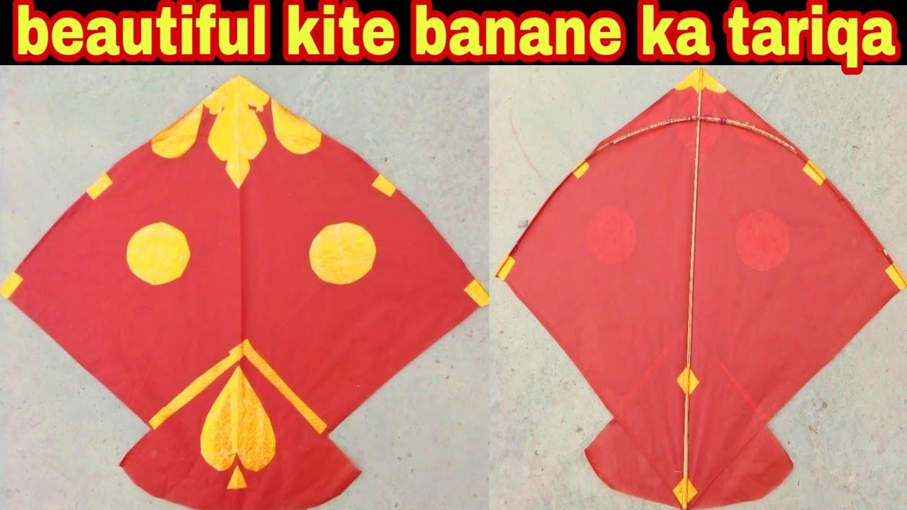 Beautiful kite make at home // patang banane ka tariqa // beautiful decoration on kite