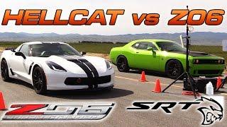 Corvette Z06 vs Hellcat - 1/2 Mile Drag Race!