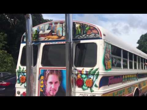 Red Devil Crazy Custom Pimped Out Bus in Panama with Lazer, TV, Vehicle Graffiti Art