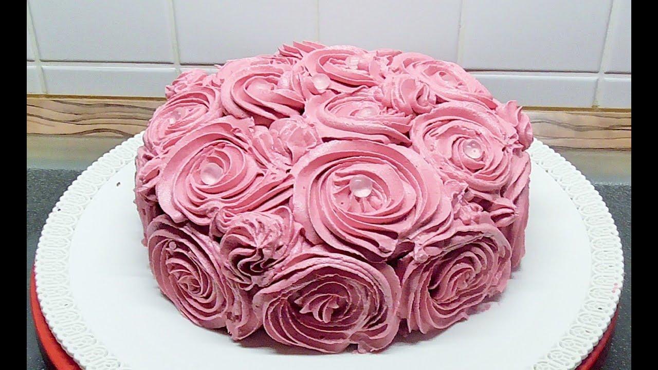 Geburtstag Torte Rosen Torte mit Butterkreme und Diamanten