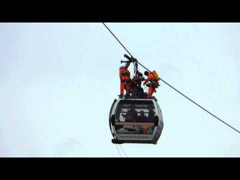 Cable car rescue training at Emirates Airway Greenwich London