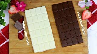 অল্প উপকরনে ২ রকমের চকলেট রেসিপি | Milk Chocolate/White Chocolate Recipe | Homemade Chocolate Recipe