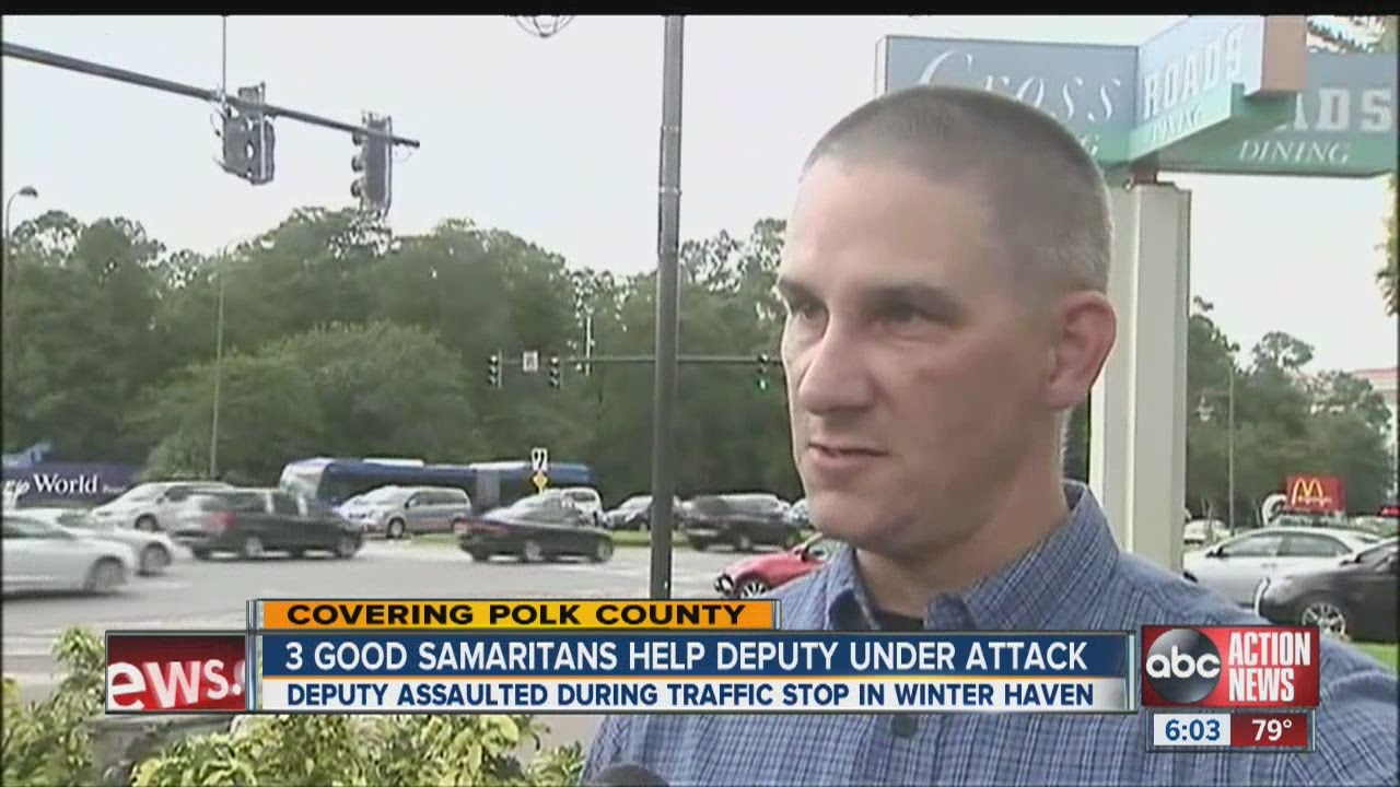 Three Good Samaritans helped Polk County Deputy Mike Walsh fight off a suspect who attacked him
