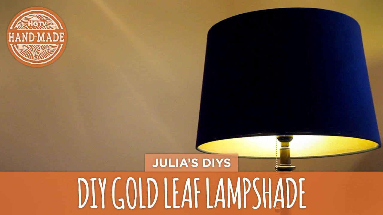 Diy gold leaf lampshade hgtv handmade youtube aloadofball Image collections