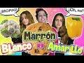 24 horas comiendo comida MARRÓN AMARILLA BLANCA 🤮 Probando comida por colores 2 - BROMAS graciosas