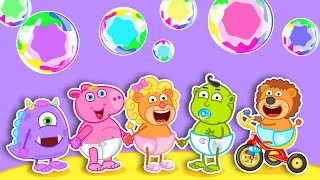 Lion Family Official Channel 🎠 Rainbow Blowing Bubbles | Cartoon for Kids