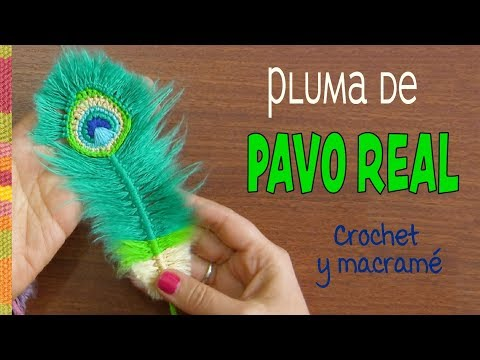 Peacock reversible feathers (crocheted and macrame)