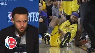 Steph Curry & the Warriors react to DeMarcus Cousins' Game 2 injury  | 2019 NBA Playoffs