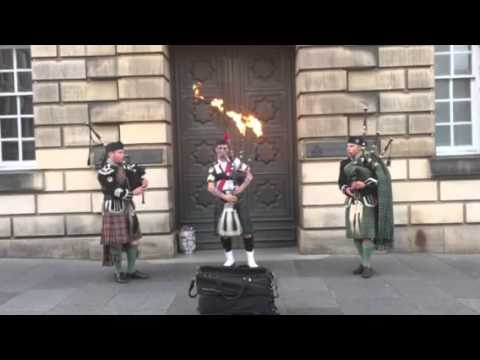 The Gael on Flaming Bagpipes With Three Pipers by Ryan Randall