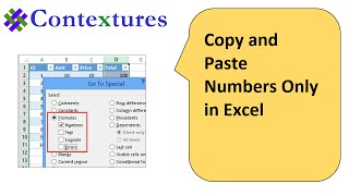 Copy and Paste Numbers Only in Excel
