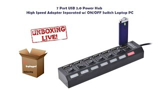 Unboxing 7 Port USB 2.0 Power Hub High Speed Adapter Separated w/ ON/OFF Switch Laptop PC
