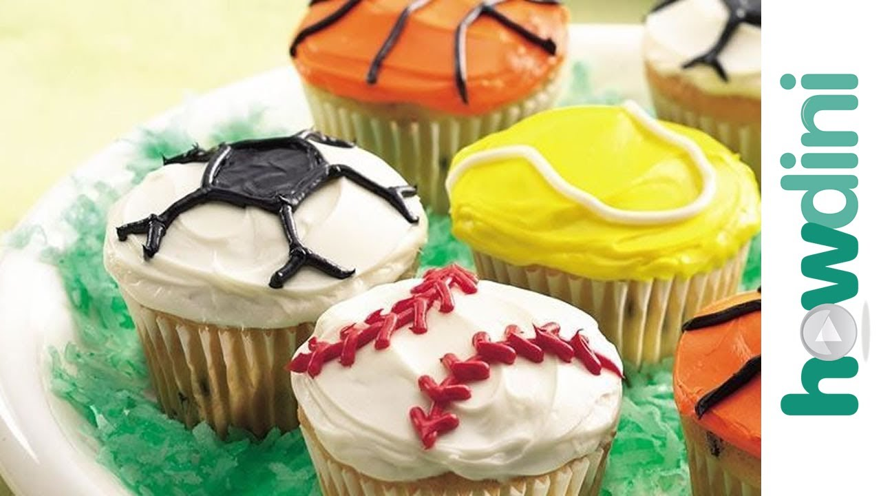 & Cupcake decorating ideas: Sports theme decorated cupcakes - YouTube