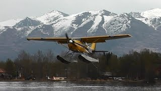 Cessna 172 Float Plane Doing Touch And Gos At Lake Hood, Alaska.