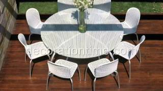 Modern White Outdoor Tables And Chairs -- Loto & Ninfea