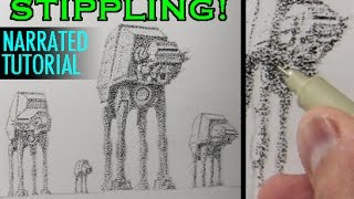 Drawing Techniques: Stippling [Star Wars AT-AT Walkers]