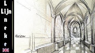 drawing Church perspective Cross arch ceiling for beginners