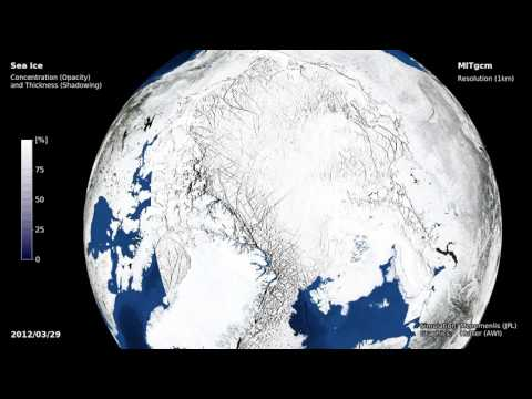 MITgcm Leads in Arctic sea ice 2011-2012