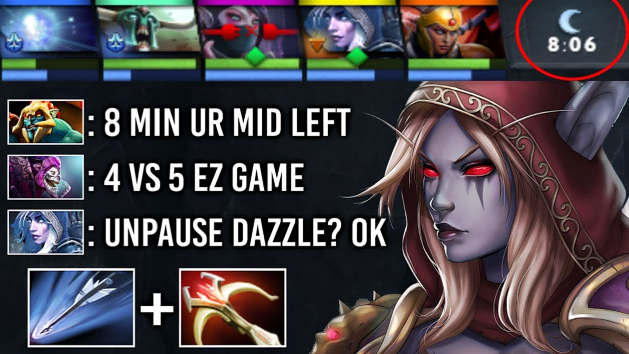 8 Min Mid Hero Left 4v5 They Thought Ez Game… EPIC Pro Drow Ranger 9k Teamwork w/ Io 7.22 Dota 2