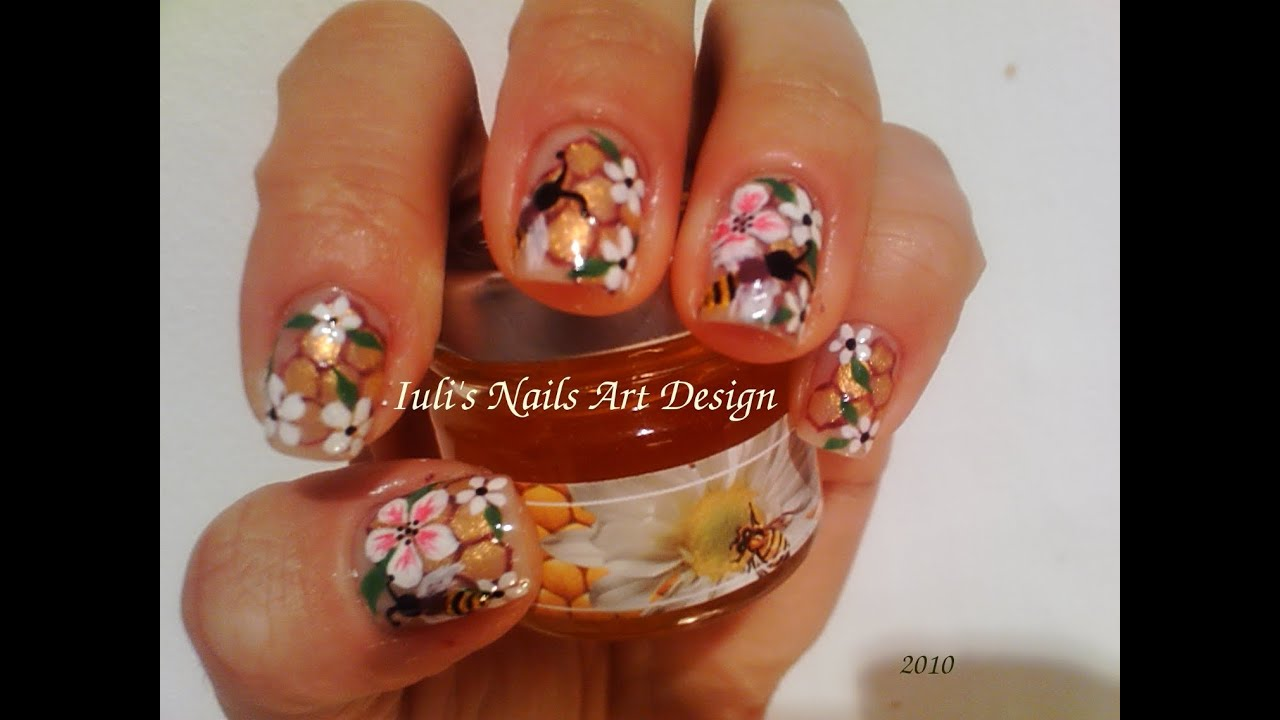 Nail Art Design - Bees,honey comb and flowers on natural nails - YouTube