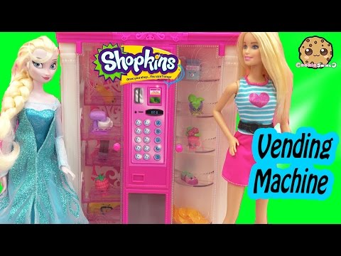 Disney Frozen Queen Elsa Doll Stocks Barbie Vending Machine With Shopkins Season 4 5 Packs