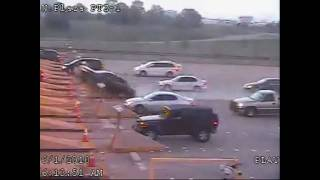 Car jumps over toll booth