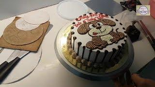Cách làm bánh sinh nhật trang trí hình cún đẹp - How To Make drawing dog Cake(12)