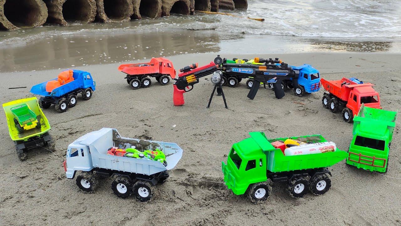 Mobil Tronton Muat Banyak Mobil Beko, Tembak, Motor, Excavator, Truk Pasir, Dump Truk, Truk Molen