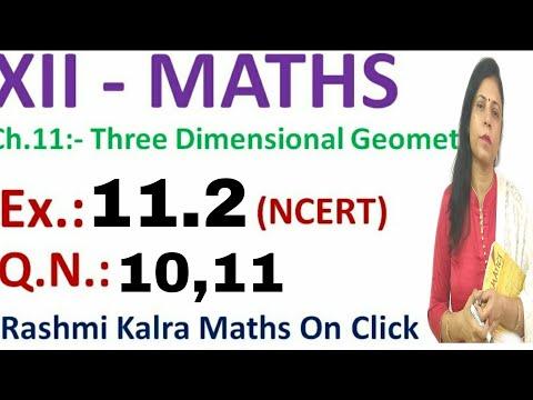 CLASS 12 MATHS NCERT CHAPTER 11 ,3 DIMENSIONAL GEOMETRY EX 11.2 QUESTION 10,11