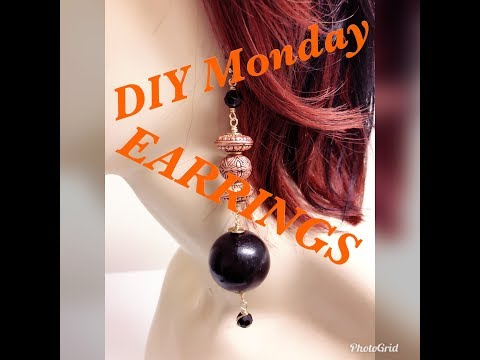 DIY MONDAY THE DANGLE DROP WOOD BEAD EARRINGS