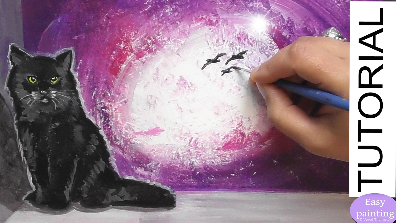 how to paint a black cat on a window sill acrylic painting tutorial step by step mistic youtube. Black Bedroom Furniture Sets. Home Design Ideas