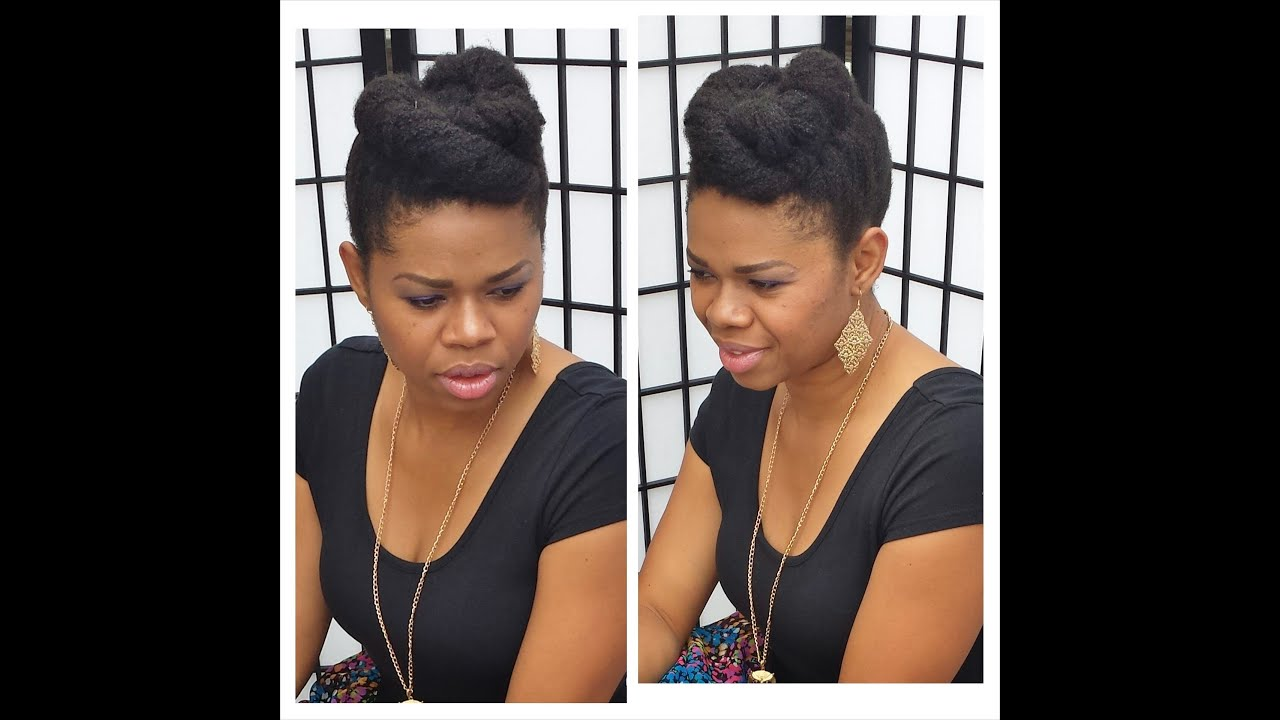 4c natural hair roll & tuck updo