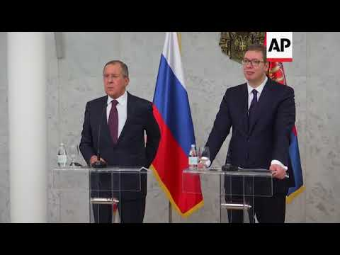 Russia Foreign Minister Sergey Lavrov visits Serbia