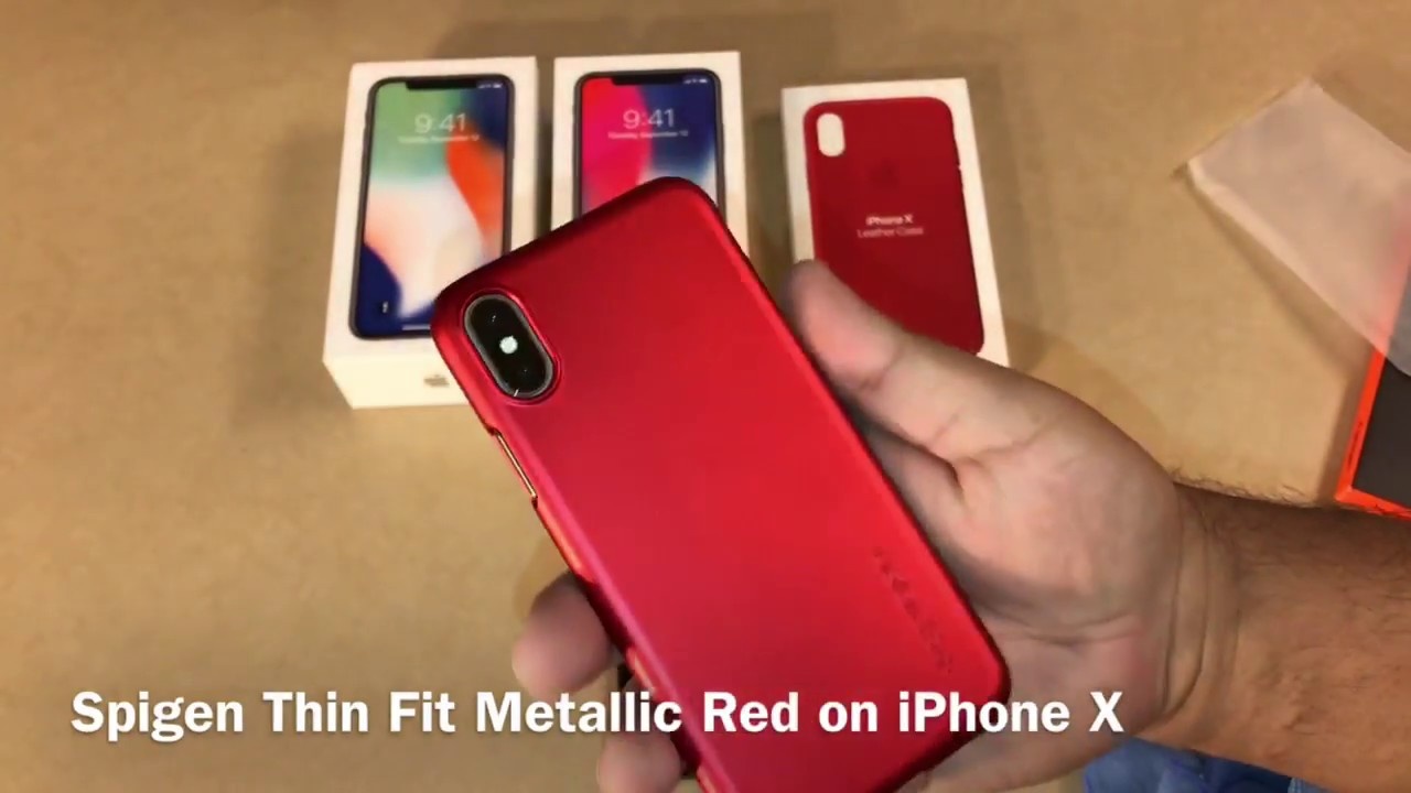 low priced 65b1d f4b51 Spigen Thin Fit Metallic Red on iPhone X