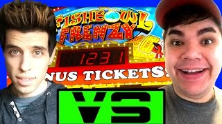 $30 Arcade Ticket Challenge - Who Will Win Arcade Games More? Fun Arcade Jackpot Wins