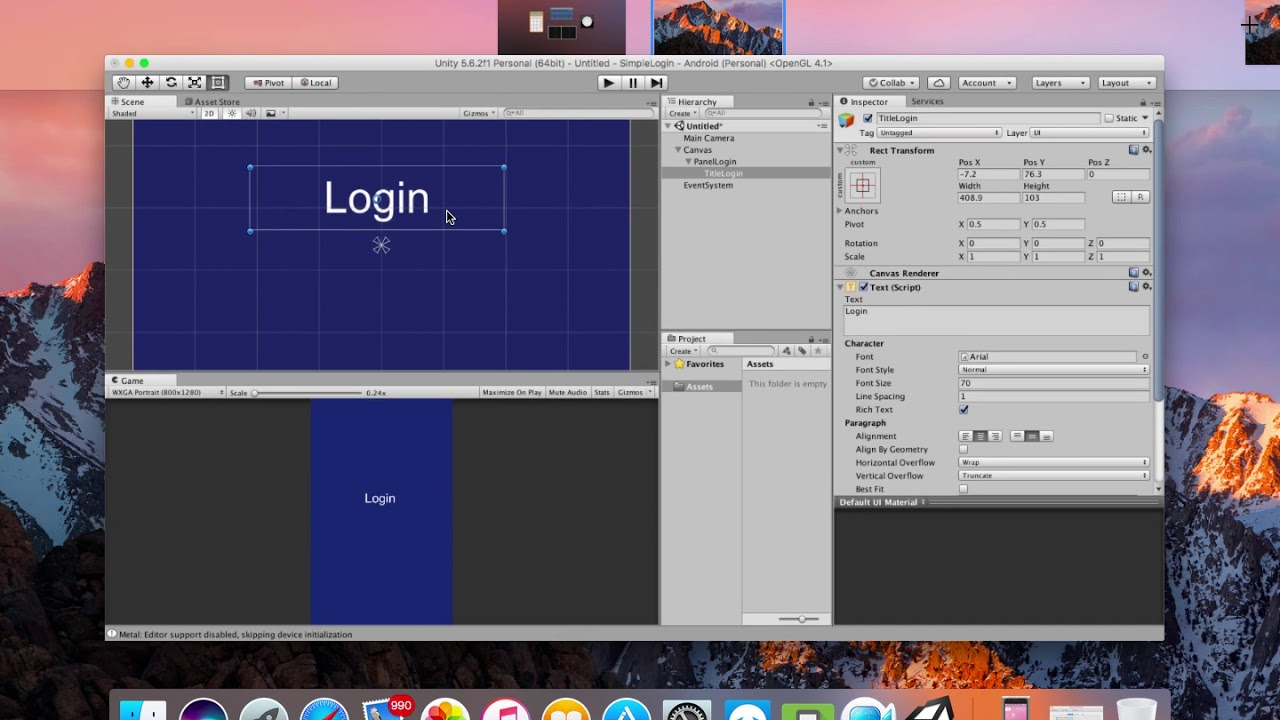 Unity 5 (Android) Lession 1: Simple Login & Change Scene