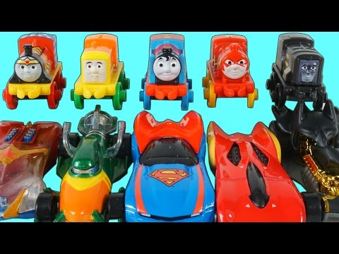 HOT WHEELS THOMAS AND FRIENDS JUSTICE LEAGUE SUPERFRIENDS SUPERHEROES RACE AND CRASH