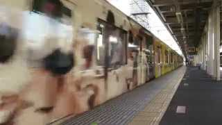 阪神1000系+阪神9000系(Yellow Magic トレイン) 快速急行奈良行 尼崎駅発車