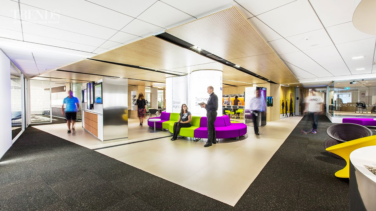 Office Interior Design For NEC, Wellington Replaces Reception With An  Interactive Zone   YouTube