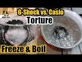 G Shock vs. Casio Torture test 1 - freezing and cooking