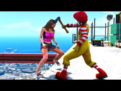 Ronald McDonald in GTA 5 Crazy Jumps-Falls-Ragdolls [Euphoria physics   Funny Moments]