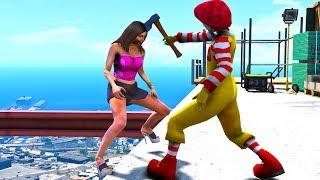 Ronald McDonald in GTA 5 Crazy Jumps-Falls-Ragdolls [Euphoria physics | Funny Moments]