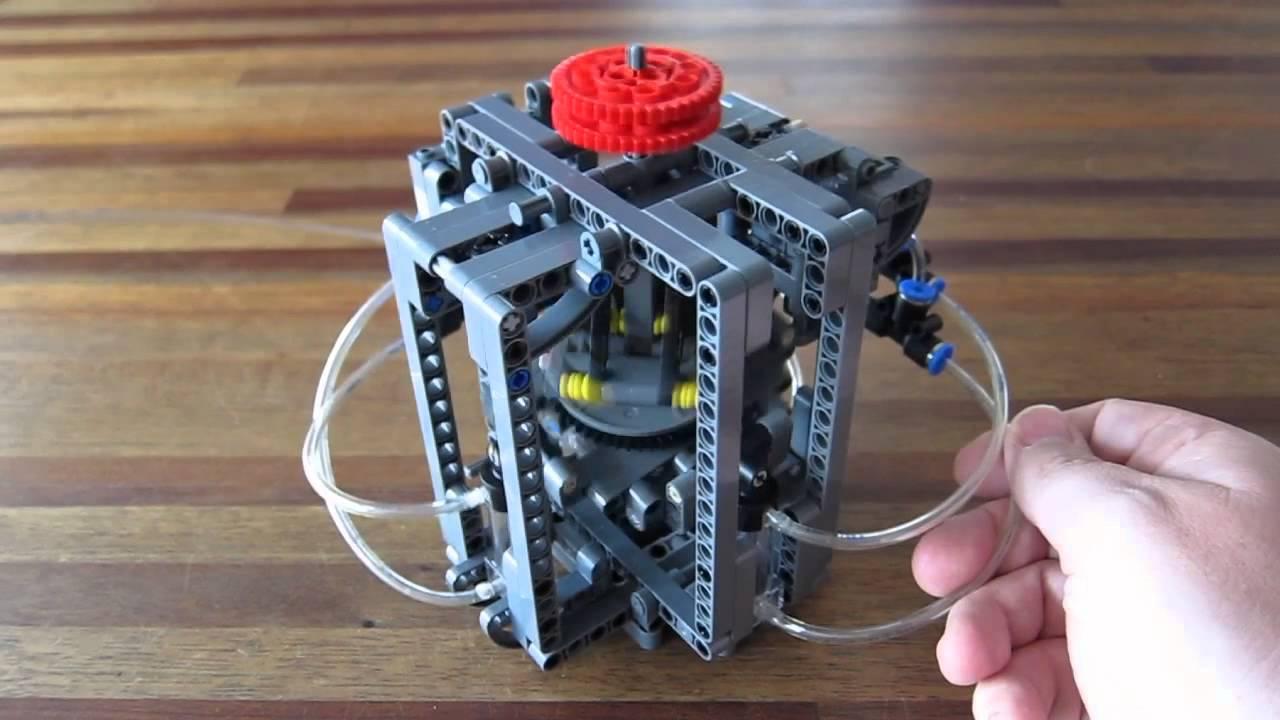 Lego Pneumatic Engine Axial 4 Swashplate Youtube