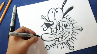 "Cómo dibujar a Coraje 4 ""Agallas"" - El perro Cobarde 
