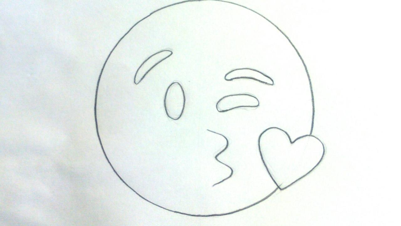 Emoticones Whatsapp Cómo Dibujar El Emoji Beso A Lápiz Paso A Paso Fácil Para Niños Youtube