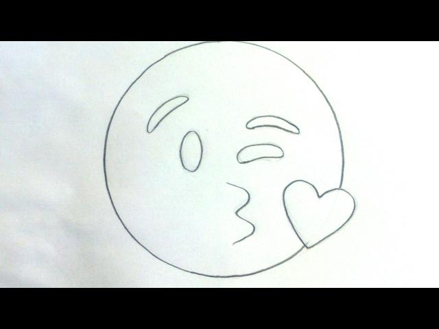 Cómo dibujar un emoticono beso paso a paso | adibujar.com