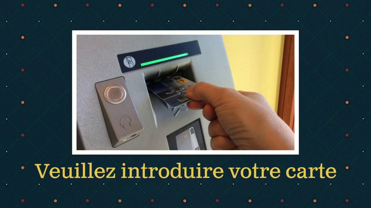 retrait guichet banque postale sans carte Guichet automatique _Le retrait   YouTube