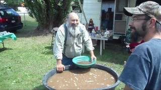 Gold panning lessons, demonstrations and competitions at Greenwood's Founders Days.