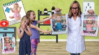 Kids FAKE Sick at Toy Doctor for Luvabella Dolls !!!