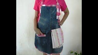 Aprenda a reciclar calça jeans e a fazer um lindo avental