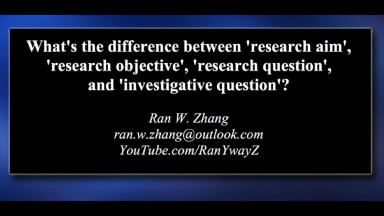 Research aim, research objective, research question, and ...